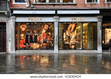 VENICE - 16 SEPTEMBER: Prada luxury fashion boutique on September 16, 2009 in Venice. According to Trendbird Prada is in top 10 most valuable luxury brands, with value around 3 billion USD.