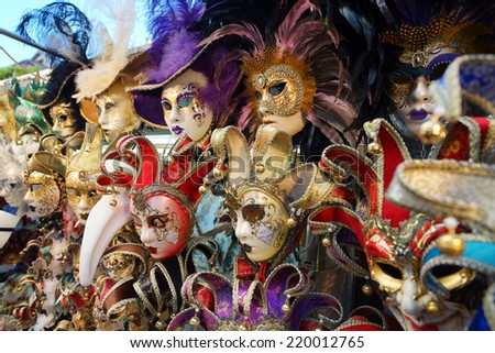 VENICE - SEPTEMBER 14: street carnival mask shop  on September 14, 2014 in Venice, Italy. The Carnival of Venice is an annual festival, held in Venice, Italy. - stock photo