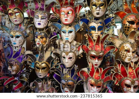 VENICE - SEPTEMBER 14: street carnival mask shop  on September 14, 2014 in Venice, Italy. The Carnival of Venice is an annual festival, held in Venice, Italy.