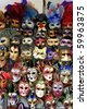 Venice showcase of national masquerade masks - stock photo