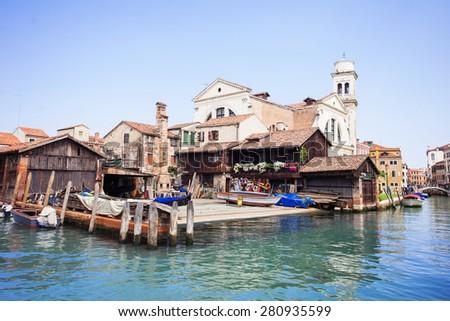 Venice. Square di San Trovaso - the main center for repair gondolas  - stock photo