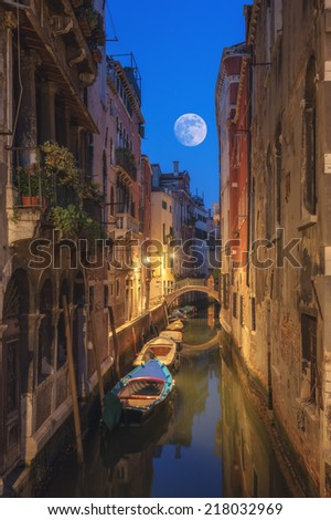 venice street on evening time - stock photo