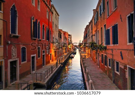 Venice streets near Saint Marco square at sunset