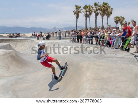 VENICE, UNITED STATES - MAY 21, 2015: Ocean Front Walk at Venice Beach, Skatepark , California. Venice Beach is one of most popular beaches of LA County. - stock photo