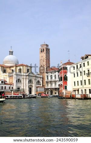 VENICE, VENETO, ITALY - OCTOBER 10, 2012: Palazzo Labia and Church Santa Croce by the Canal Grande - stock photo