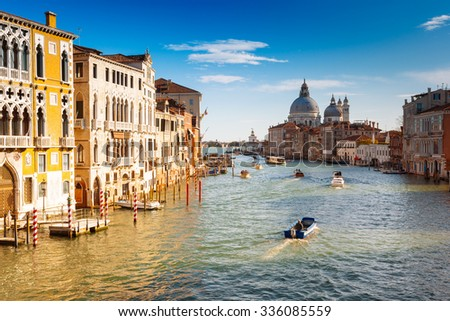 Venice, view from the Accademia bridge with the Grand Canal in a beautiful autumn day - stock photo