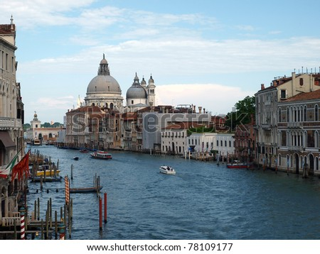 Venice - View of Canal Grande and Salute - stock photo