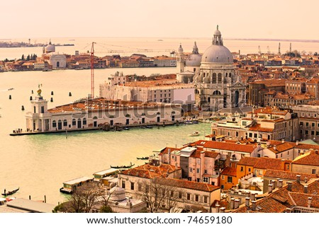 Venice, view of grand canal and basilica of santa maria della salute at sunset. Italy. - stock photo