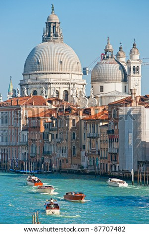 Venice, view of grand canal and basilica of santa maria della salute. Italy. - stock photo