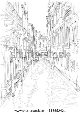 Venice - water channel, old buildings & gondola away. Bitmap copy my vector