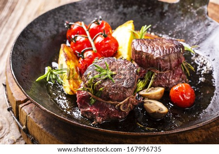 venison medallions - stock photo