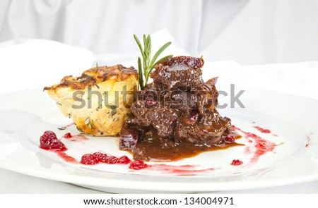 Venison ragout with potato celeriac mix - stock photo