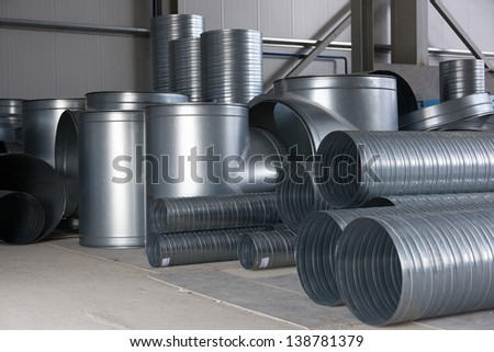 ventilation ducts components - stock photo