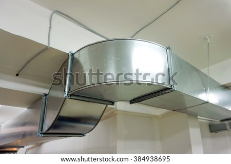 Ventilation ducts made of galvanized sheet - stock photo