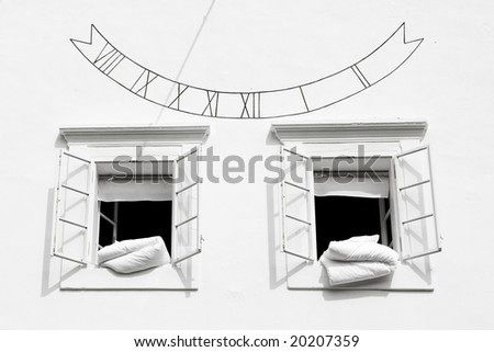 ventilation featherbed in the morning - stock photo