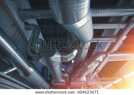 Ventilation Pipes Ducts Industrial Air Condition Stock Photo ...