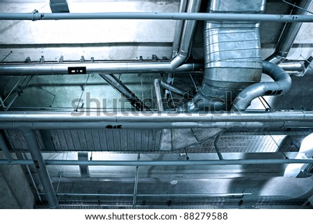 Ventilation pipes in a modern building - stock photo