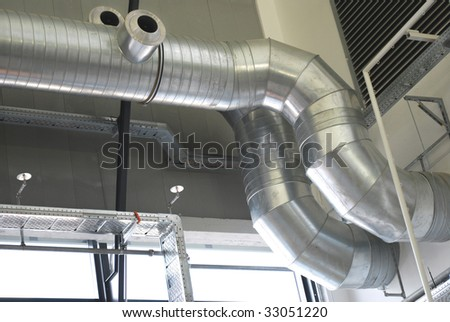 ventilation pipes of an air conditioning system - stock photo