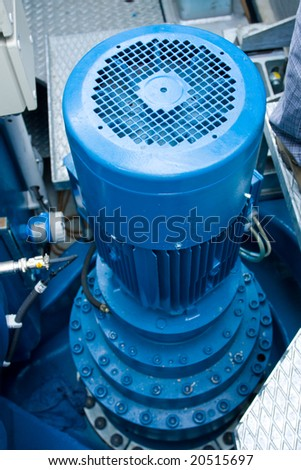 ventilator of gearbox windy power station in machine - room arrangement - stock photo