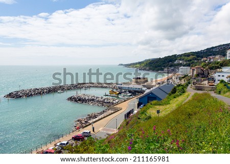 Ventnor Isle of Wight south coast of the island tourist town with harbour and coastline - stock photo