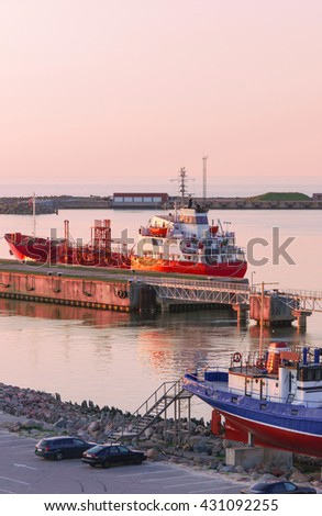 Ventspils, Latvia - May 8, 2016: Dry cargo vessel at the Marina in Ventspils in Latvia. Ventspils a city in the Courland region of Latvia. Latvia is one of the Baltic countries