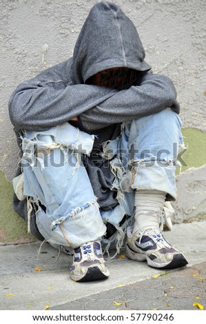 VENTURA, CA - JUL 20: Because of the current recession this teenager found himself homeless, living on the street with no job on July 20, 2010, in Ventura, California.