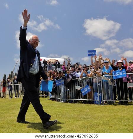 VENTURA, CA - MAY 26, 2016: Democratic presidential candidate, Sen. Bernie Sanders (D-VT) enters his campaign rally at Ventura College, in preparation for June 7 California Primary Election.  - stock photo