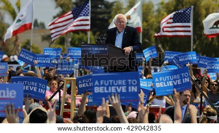 VENTURA, CA - MAY 26, 2016: Democratic presidential candidate, Sen. Bernie Sanders (D-VT) speaks at a campaign rally at Ventura College, in preparation for June 7 California Primary Election.  - stock photo