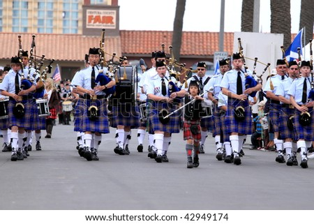 VENTURA, CA - OCTOBER 11: - Bagpipe bands participating in a parade at the Ventura Seaside Highland Games October 11, 2009 in Ventura, CA