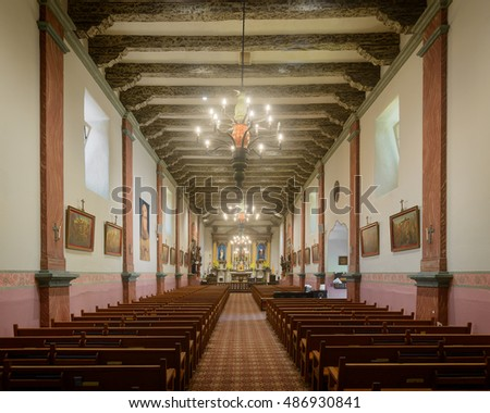 VENTURA, CALIFORNIA - AUGUST 1: Interior of the church at Mission San Buenaventura on Main Street on August 1, 2016 in Ventura, California