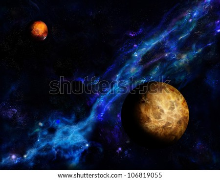 Venus and  Mars on the background of the Milky Way - stock photo