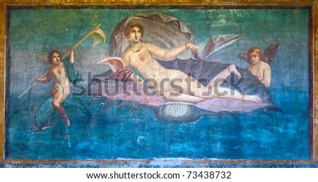 Venus in the shell ancient roman fresco in Pompeii, Italy - stock photo