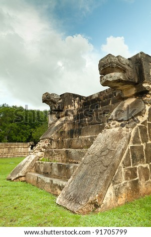 Venus Platform in the Great Plaza, Chichen Itza, Mexico - stock photo
