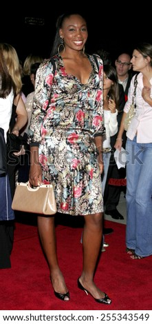 "Venus Williams attends the Los Angeles Premiere of ""In Her Shoes"" held at the Academy of Motion Pictures Arts and Sciences in Beverly Hills, California, on September 28, 2005."