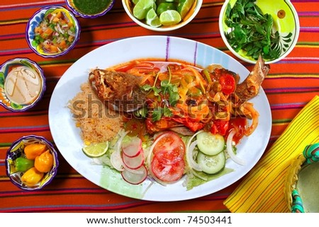 Veracruzana style grouper fish mexican seafood chili sauces - stock photo