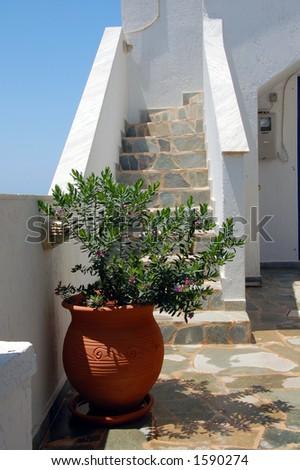 veranda in an island in Greece - stock photo