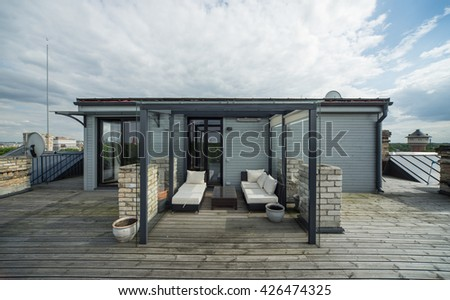 Veranda on the roof. Modern private flat. - stock photo