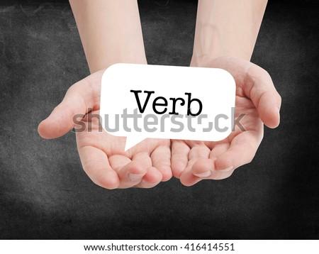 Verb written on a speechbubble - stock photo