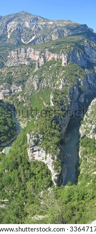 Verdon canyon and the river view from a high point in France.