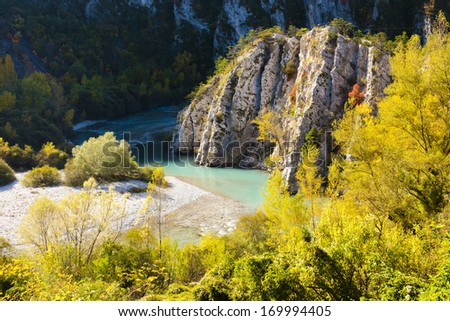 Verdon Gorge in autumn, Provence, France - stock photo