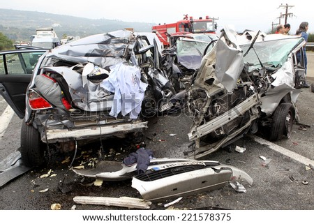VERIA, GREECE - OCTOBER, 5, 2014:A large truck crashed into a number of cars and 4 people were killed and many were injured in a multi-vehicle collision that occurred on Egnatia Odos.