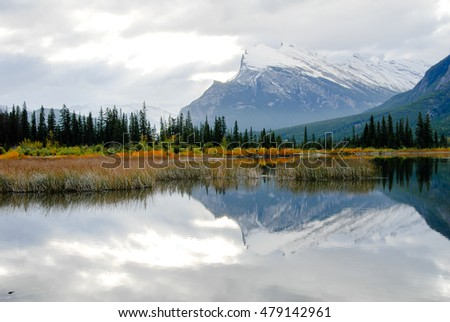 Vermilion Lake and Mount Rundle in the Morning in Autumn, Banff National Park, Canadian Rockies