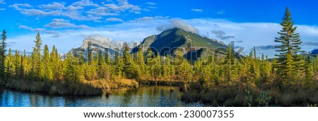 Vermillion Lake and Randle Mountain, Banff, Alberta, Canada - stock photo