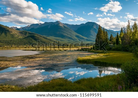 Vermillion Lake Panorama, Banff, Rocky Mountains, Canada - stock photo