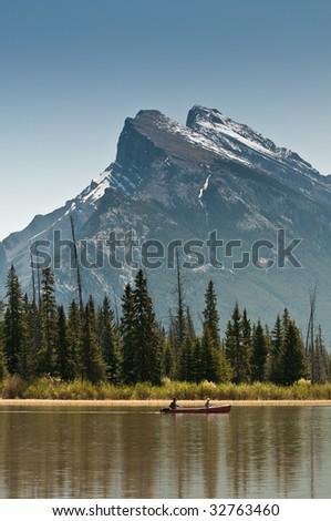 vermillion lakes, banff - stock photo