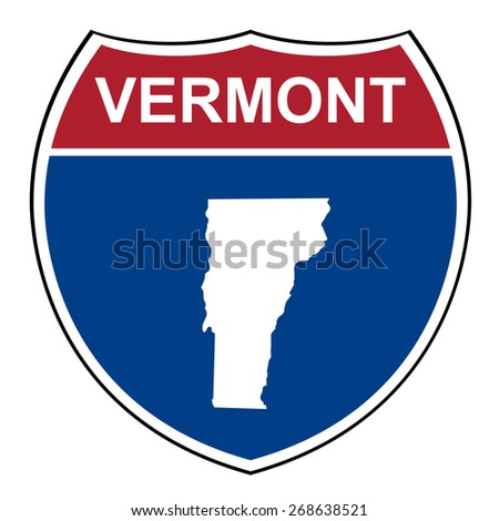 Vermont American interstate highway road shield isolated on a white background. - stock photo