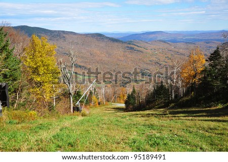 Vermont Fall Foliage in forest on Mount Mansfield in Vermont, USA - stock photo