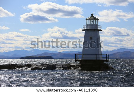 Vermont Lighthouse on Champlain Lake,Vermont,USA