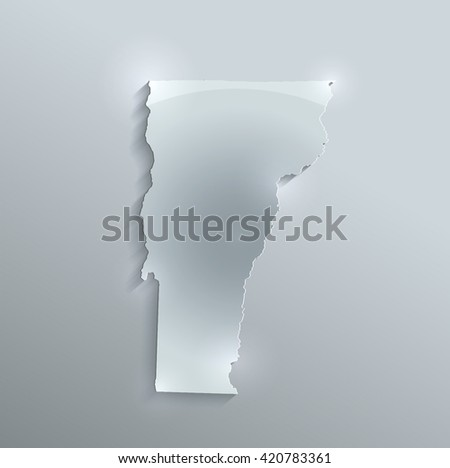 Vermont map glass card paper 3D raster - stock photo