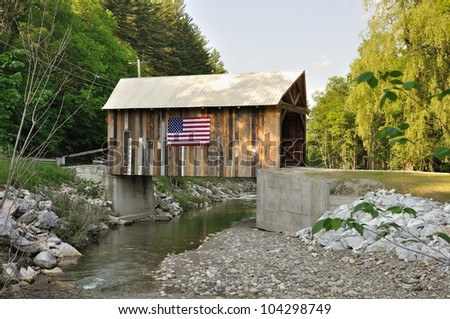 Vermont rebuilt covered bridge - stock photo